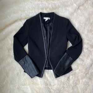 Black H&M Blazer with Faux Leather Accents